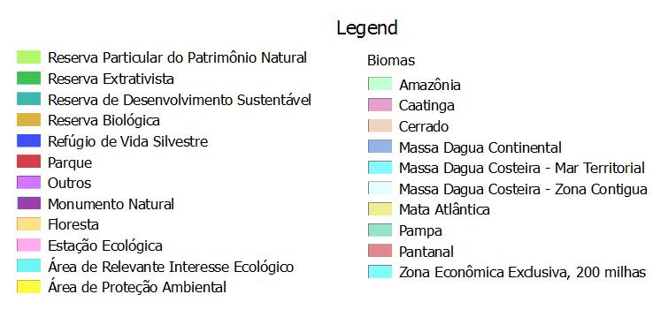 Legend for Unidades de conservacao