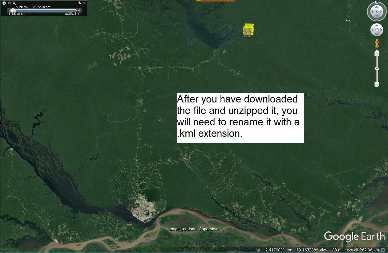 Rebio Uatauma on Google Earth